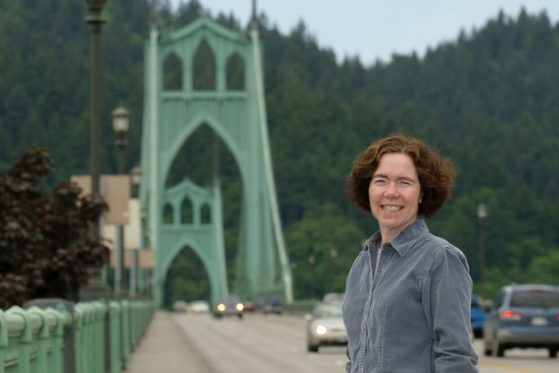 Metro Councilor for District 5, Mary Nolan on the Saint Johns Bridge in North Portland