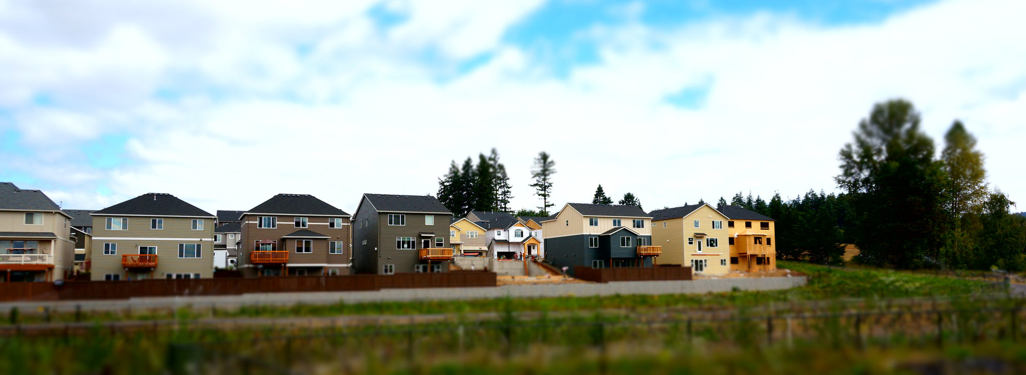 New houses beside a wetland wide