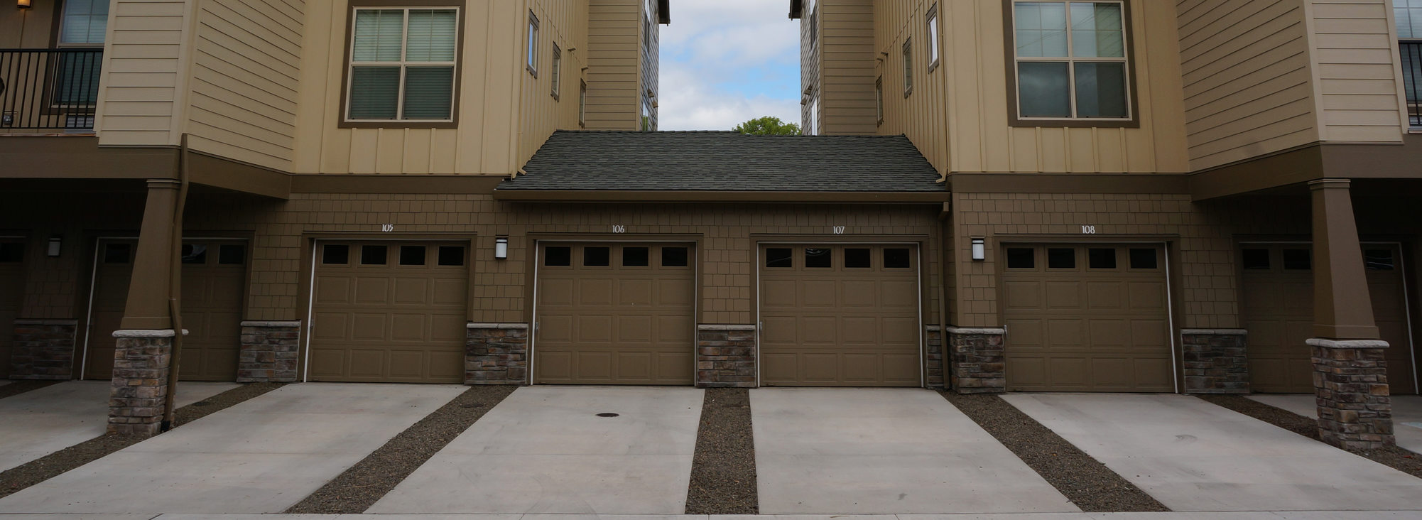 View of garages on new attached housing development