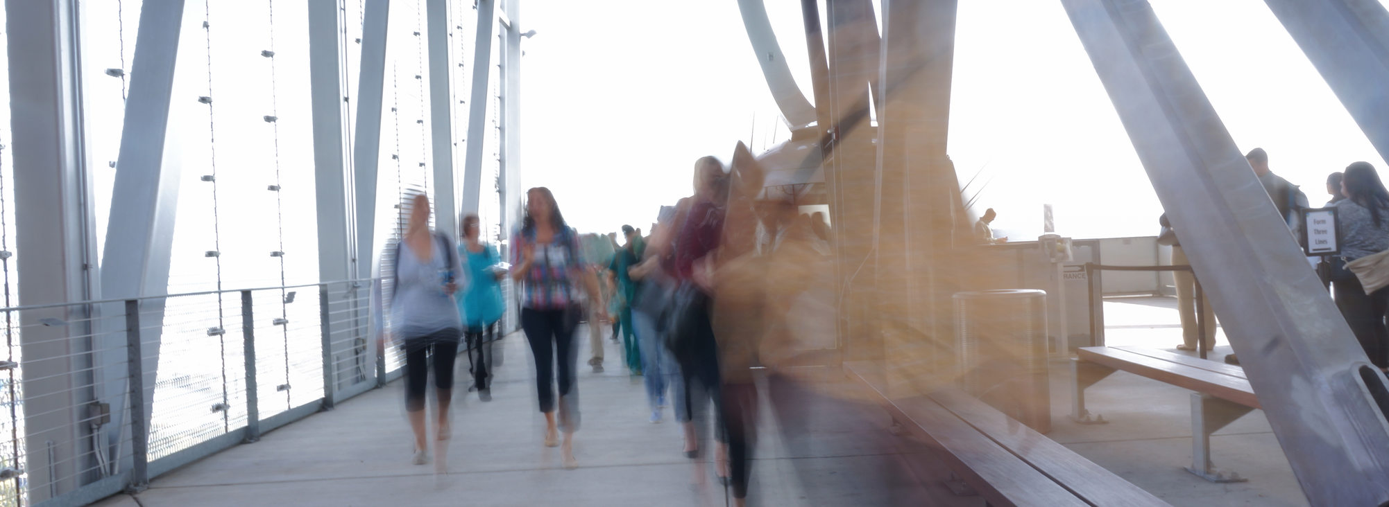 People walking off the aerial tram