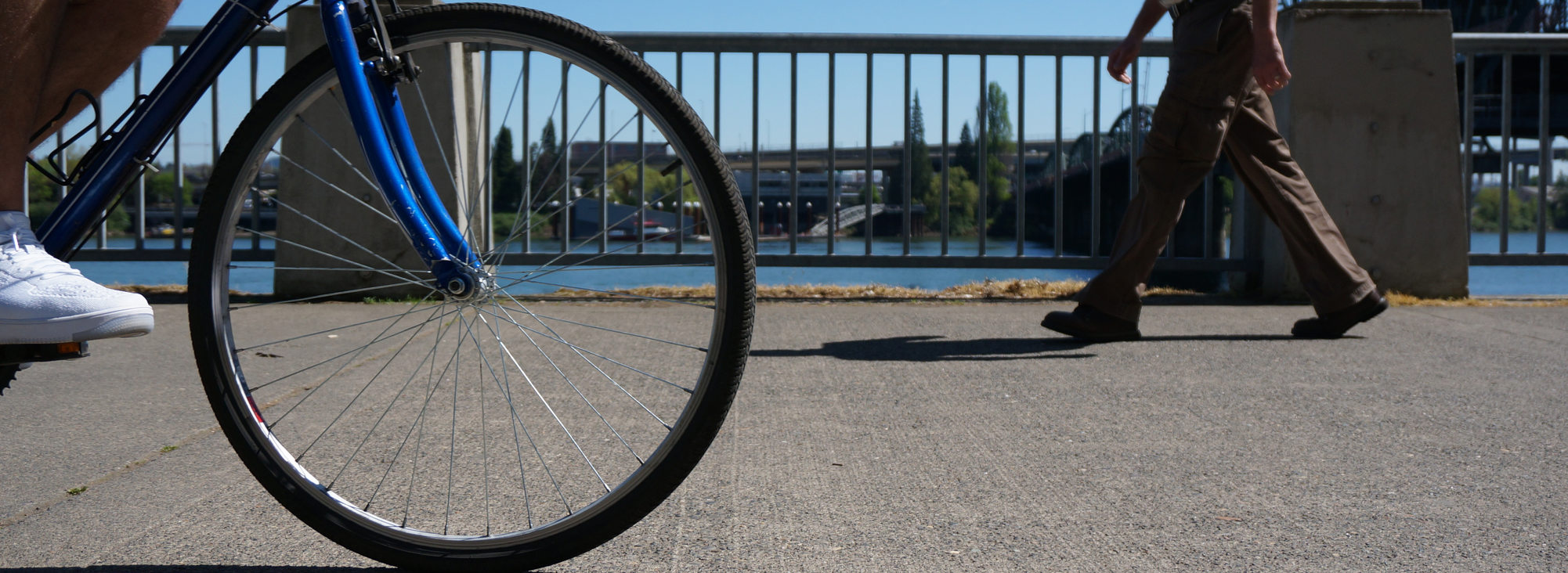 Bike wheel and man walking on Waterfront Park path, low-angle and wide.