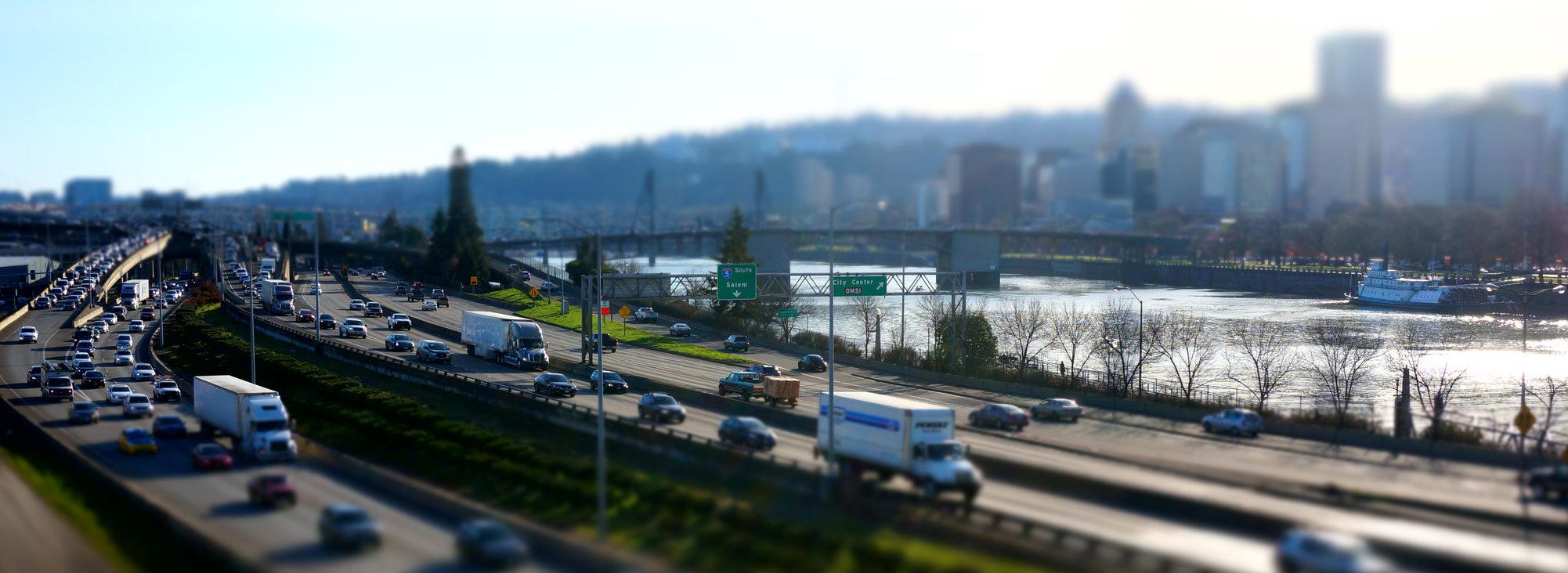 Wide shot of I-5 in Portland, blurred