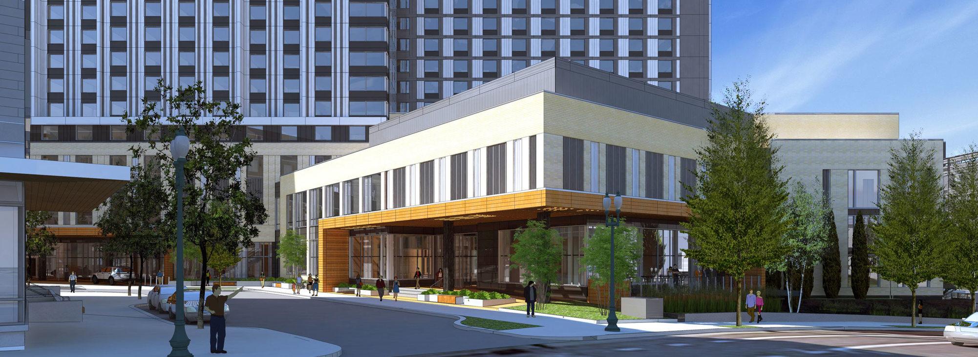 rendering of convention center hotel Multnomah entrance