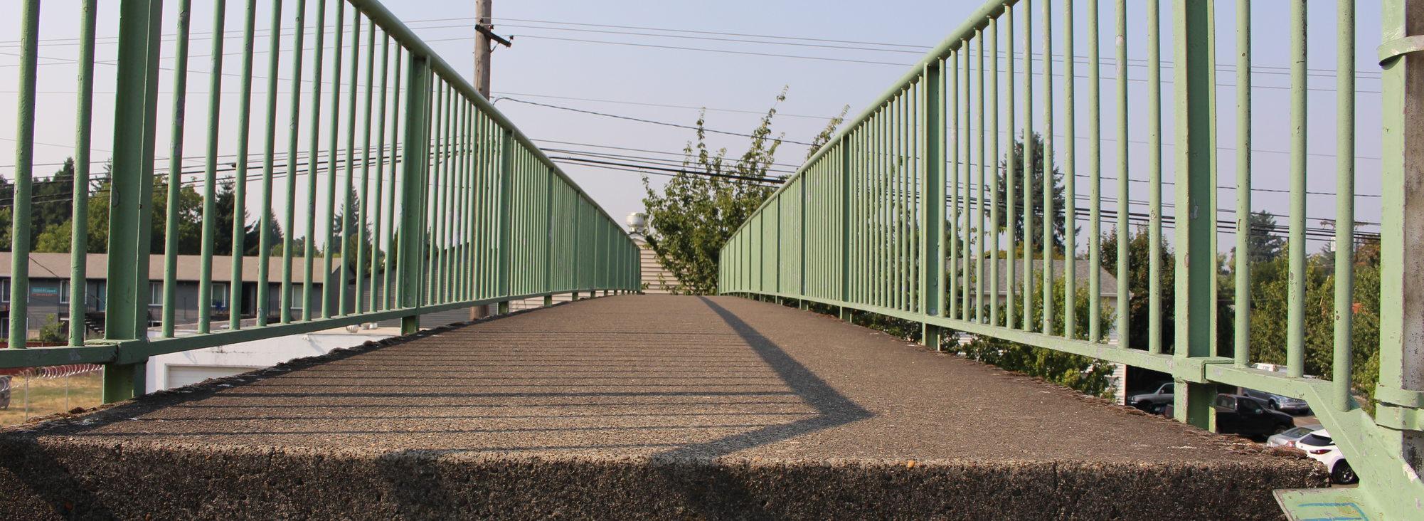 pedestrian overpass bridge in the Jade District