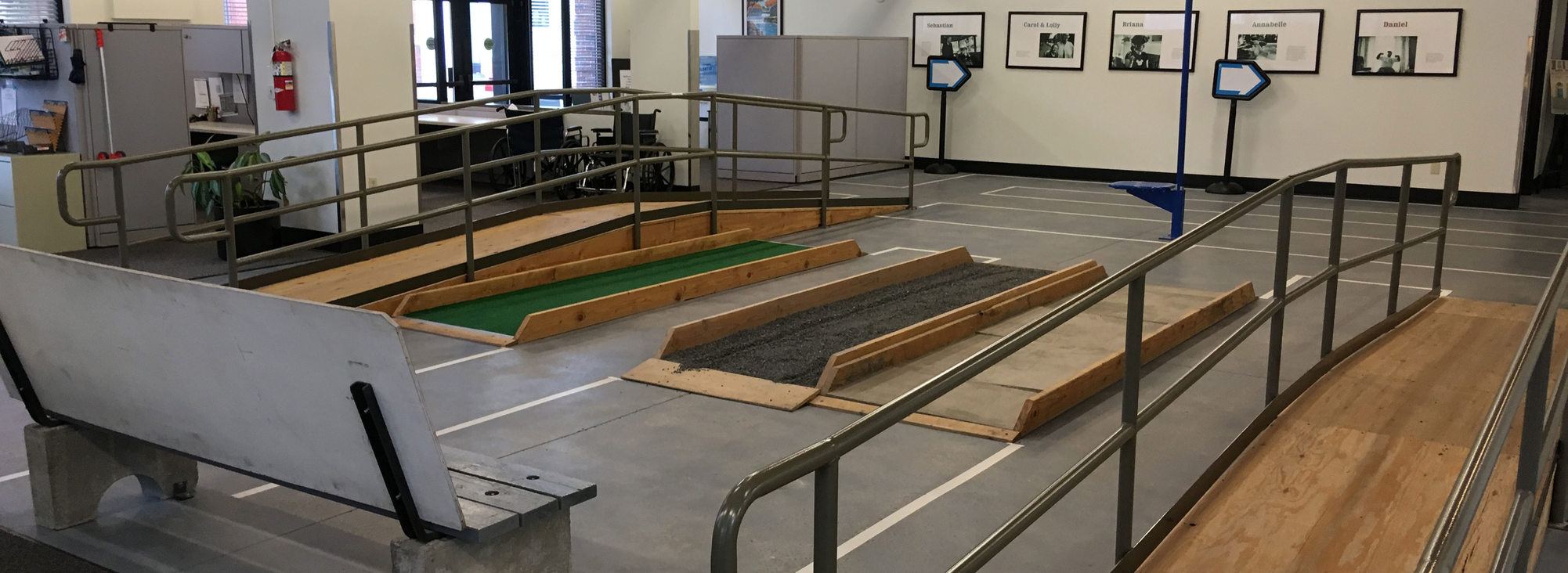 A mock-up setup of ramps, gravel and more at its Transit Mobility Center.