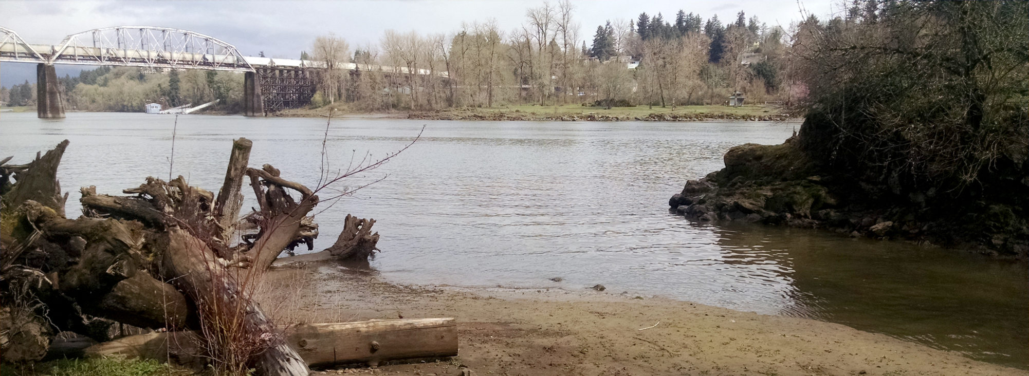 Tryon Creek and Willamette River confluence