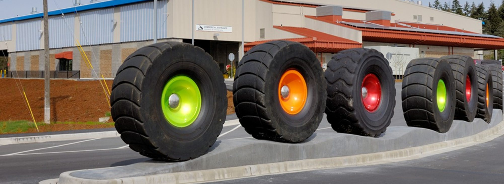 public art installation at a transfer station featuring tires