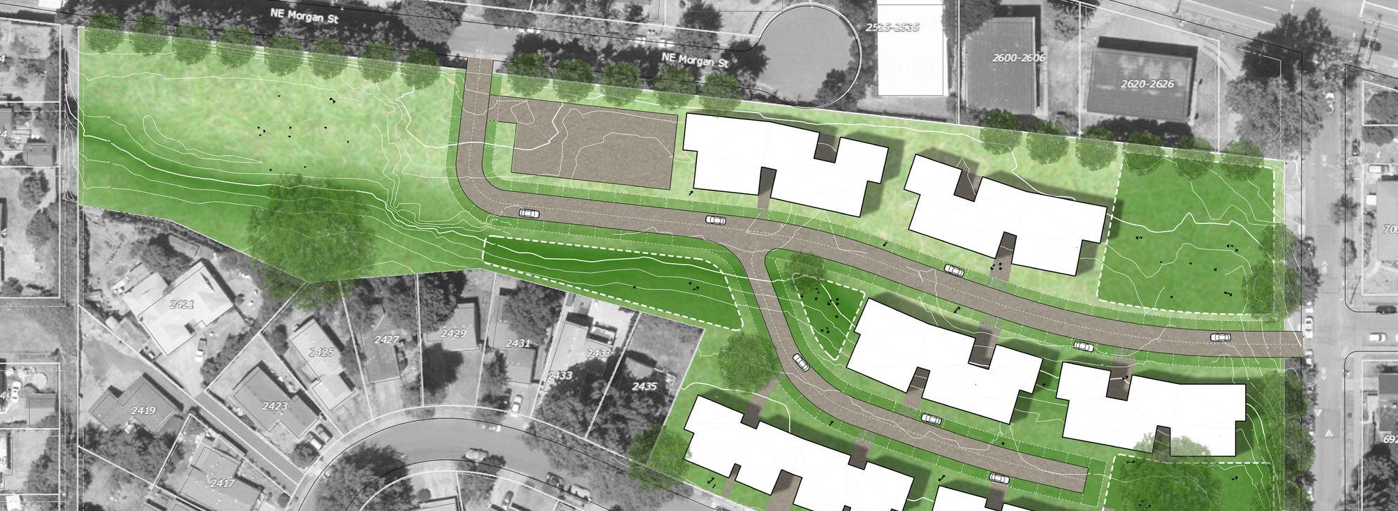 conceptual site plan for Dekum Court development