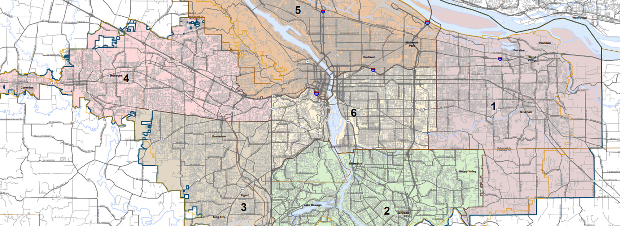 Map image of the 6 Metro Council districts prior to the 2020 Census adjustments