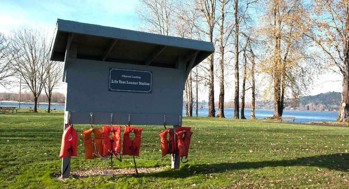 life vests at chinook landing boat ramp