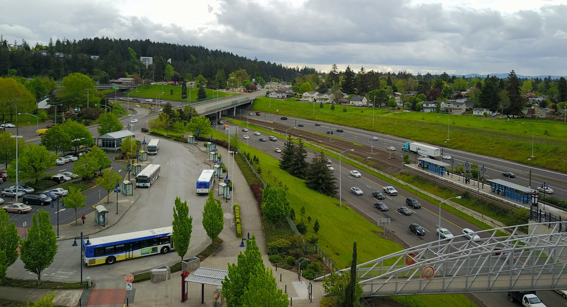 aerial photo of Clackamas with buses, freeways and light rail station