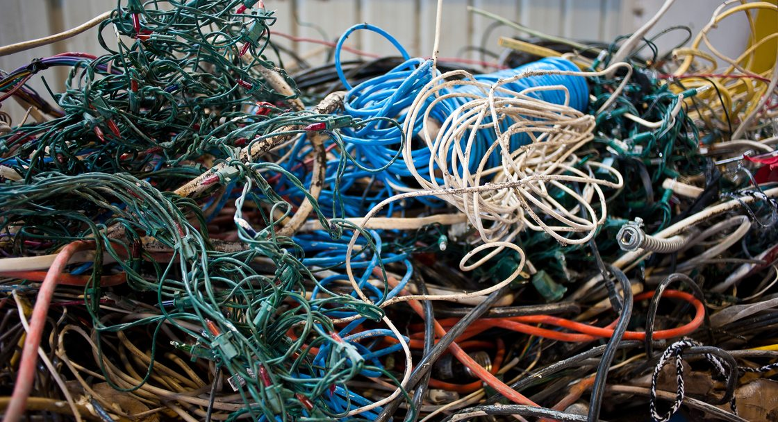 piles of electronic cords