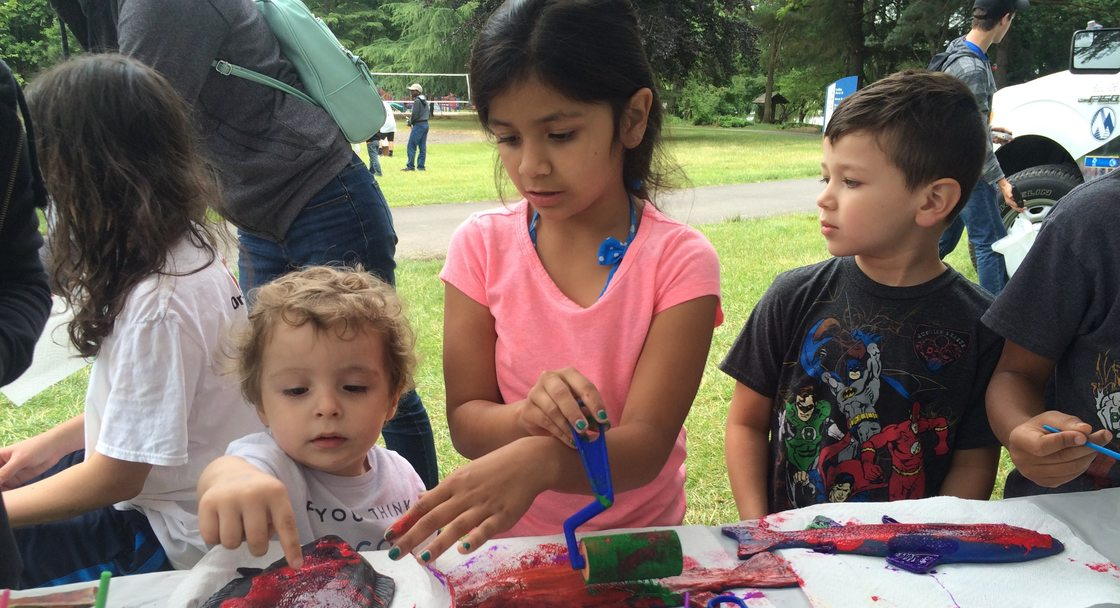 Kids working on an art project at Blue Lake Summer Fun Days