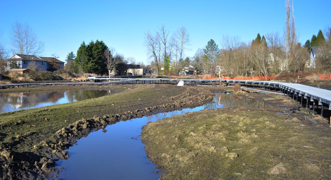 Boardman Creek runs through the middle of the wetland.