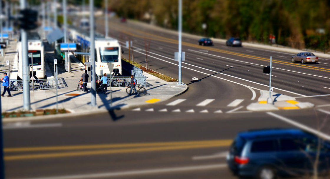 MAX station, bikers, walkers, drivers