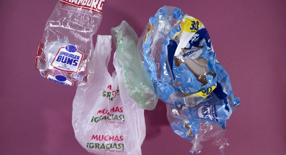 Plastic shopping bag, hamburger bun bag and toilet paper wrap