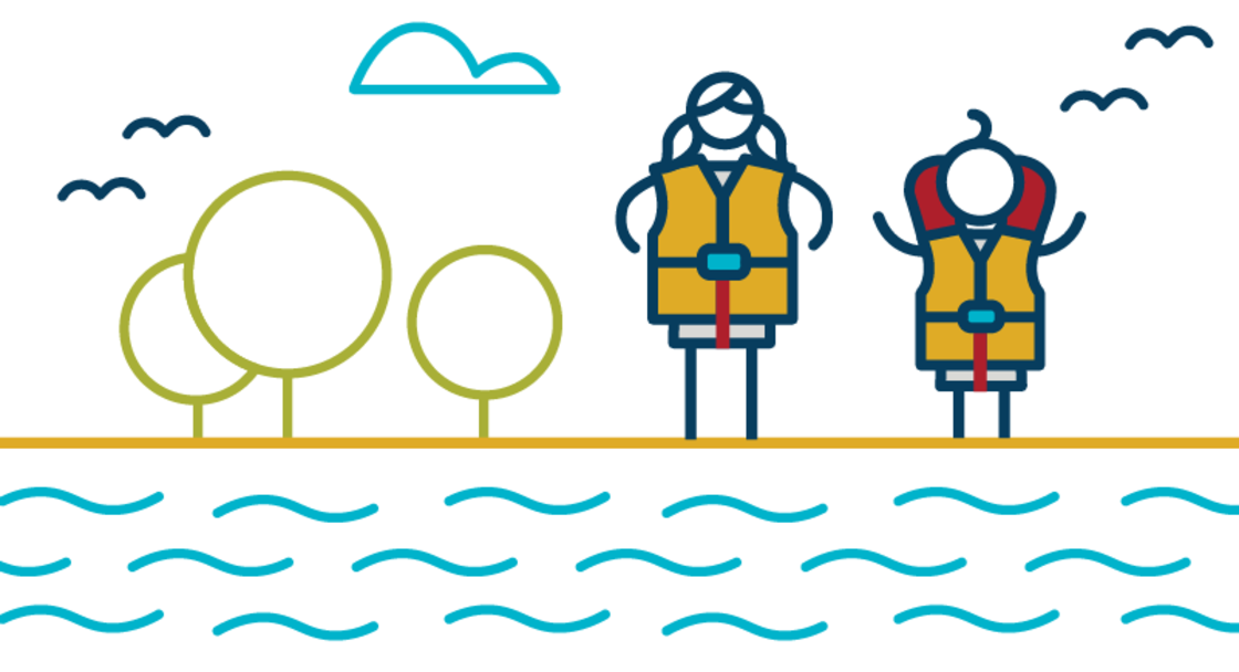 Two stick figure children wear life jackets and stand next to a river.