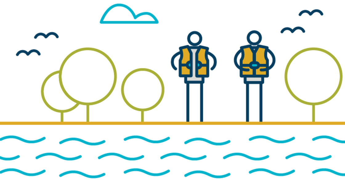 Two stick figure people wear life jackets and stand next to a river.