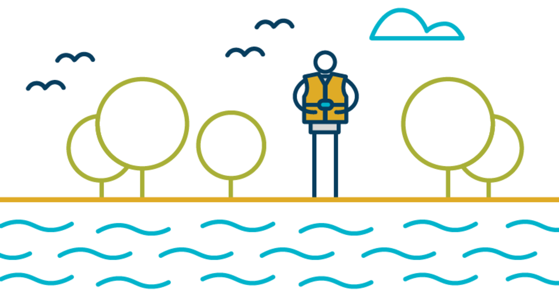 illustration of a person wearing a life jacket