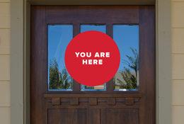 You are here brown door