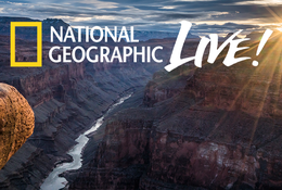 "Promotional image for ""National Geographic Live - Between the River and Rim."" A person looks out over the Grand Canyon."