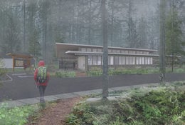 Outside view of new Oxbow Regional Park welcome center.