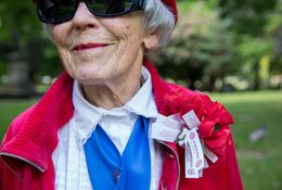 Woman at Lone Fir Cemetery on Memorial Day