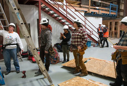 a group of women in construction gear, working as part of their pre-apprenticeship training program
