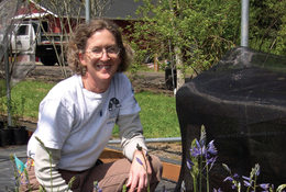 Holt-Kingsley pictured in 2005 when she started the Native Plant Center with Camassia leichtlinii.